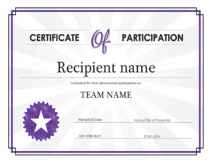 Certificate Of Participation Within Certificate Of Participation Word Template