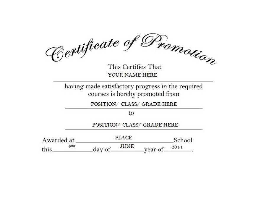 Certificate Of Promotion Free Templates Clip Art & Wording pertaining to Unique Job Promotion Certificate Template Free