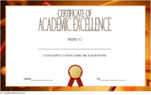 Certificate Of Recognition For Academic Excellence Template inside Unique Academic Award Certificate Template
