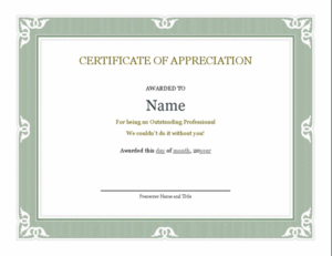 Certificate Of Recognition For Administrative Professional with regard to Template For Recognition Certificate