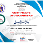 Certificate Of Recognition For Guest Of Honor & Speaker Inside Unique Downloadable Certificate Of Recognition Templates