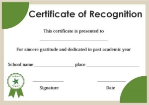 Certificate Of Recognition For Honor Students Template in Honor Award Certificate Template