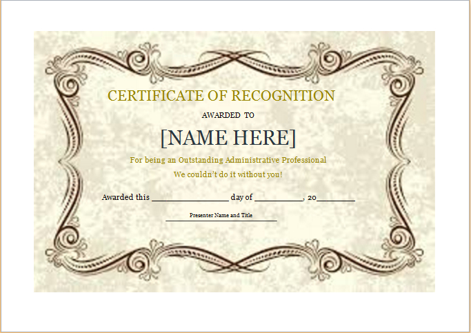 Certificate Of Recognition Template For Word   Document Hub pertaining to Certificate Of Recognition Template Word