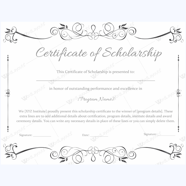 Certificate Of Scholarship 02 - Word Layouts | Awards within 10 Scholarship Award Certificate Editable Templates