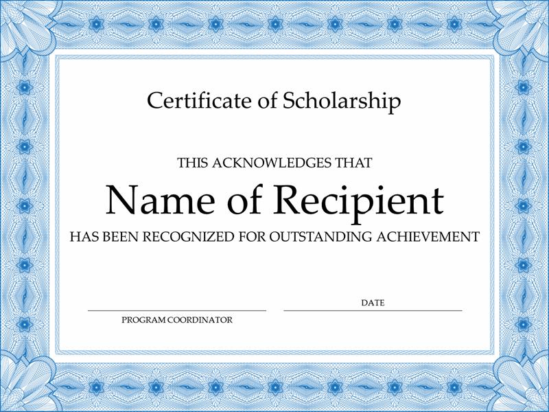 Certificate Of Scholarship (Formal Blue Border) regarding Scholarship Certificate Template