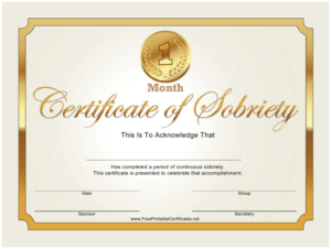 Certificate Of Sobriety Templates Pdf. Download Fill And pertaining to Certificate Of Sobriety Template Free