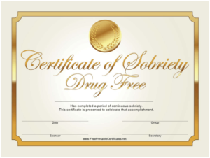 Certificate Of Sobriety Templates Pdf. Download Fill And throughout Certificate Of Sobriety Template Free