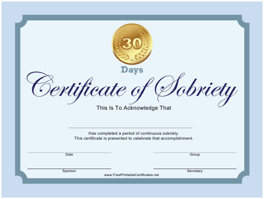 Certificate Of Sobriety Templates Pdf. Download Fill And with regard to Certificate Of Sobriety Template Free
