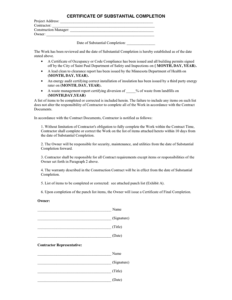 Certificate Of Substantial Completion In Word And Pdf Formats pertaining to Certificate Of Substantial Completion Template