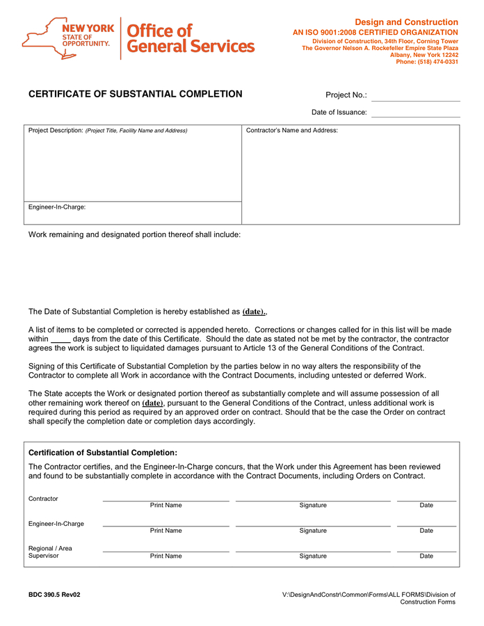 Certificate Of Substantial Completion Template (1 inside Certificate Of Substantial Completion Template