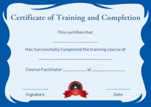 Certificate Of Training Completion Template Free | Training in Quality Class Completion Certificate Template