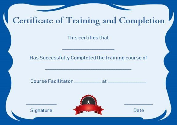 Certificate Of Training Completion Template Free | Training with Certification Of Completion Template