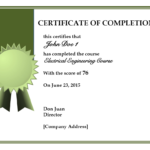 Certificate Of Training Completion Toha With Free Training With Training Completion Certificate Template 10 Ideas