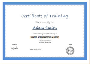 Certificate Of Training Template For Ms Word | Document Hub for Training Certificate Template Word Format
