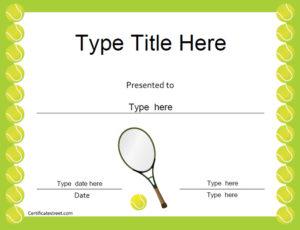 Certificate Street: Free Award Certificate Templates – No for Best Tennis Achievement Certificate Templates