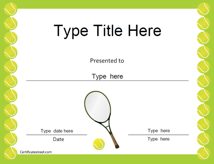Certificate Street: Free Award Certificate Templates - No for Best Tennis Achievement Certificate Templates