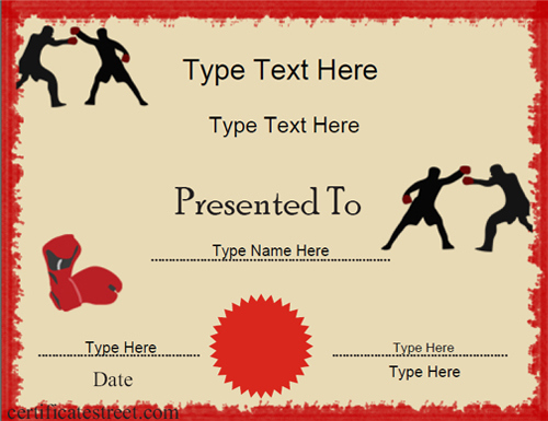 Certificate Street: Free Award Certificate Templates - No with regard to Boxing Certificate Template