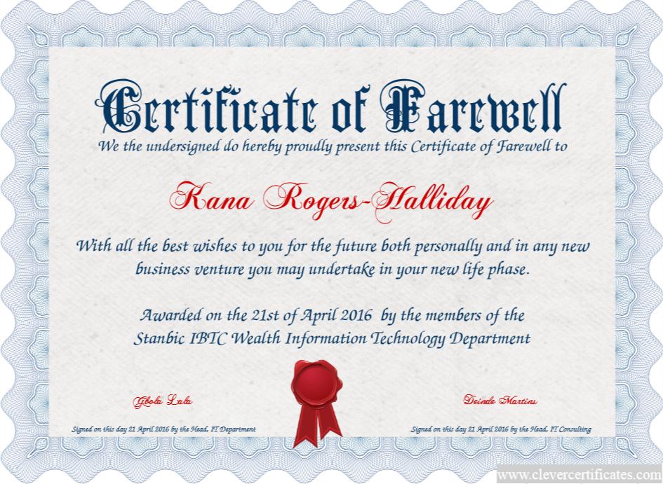 Certificate Template   Certificate Design   Free Certificate in Quality Farewell Certificate Template
