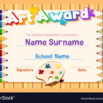 Certificate Template For Art Award With Color Vector Image For Art Award Certificate Template