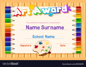 Certificate Template For Art Award With Color Vector Image intended for Free Art Certificate Templates