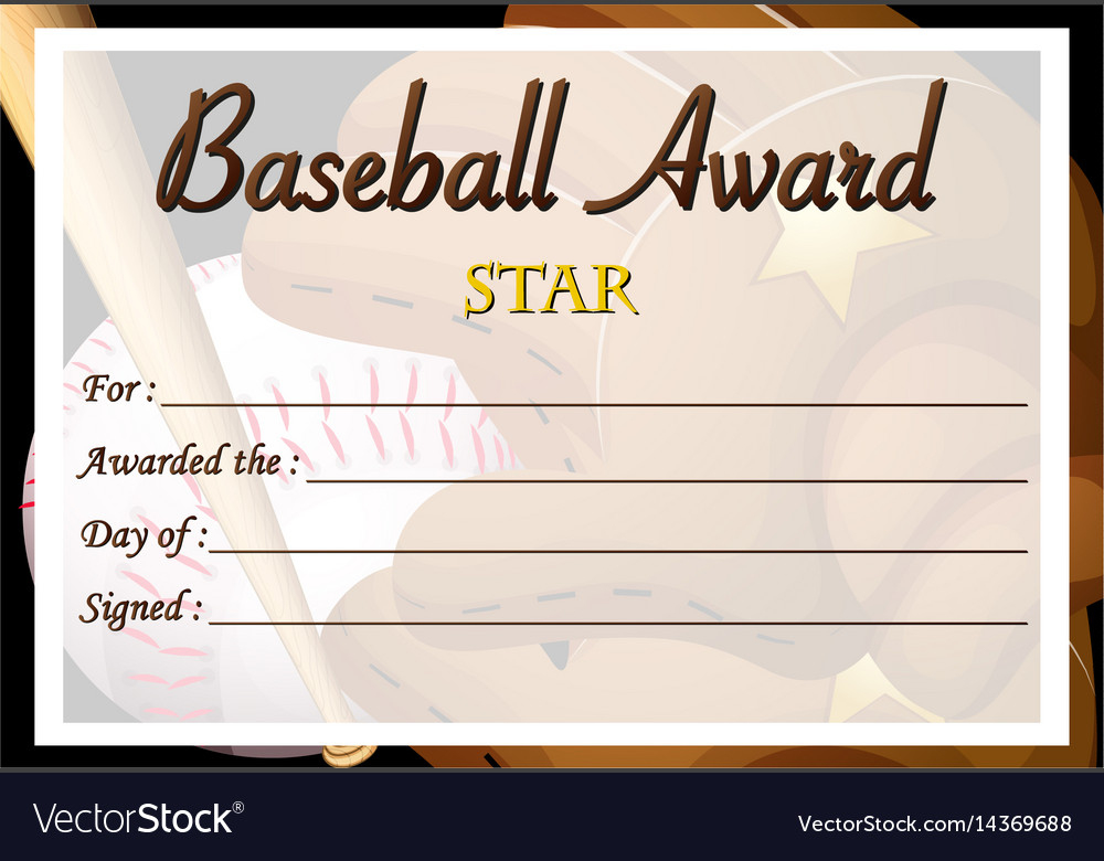 Certificate Template For Baseball Award Royalty Free Vector with regard to Quality Baseball Award Certificate Template