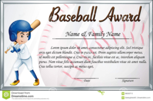 Certificate Template For Baseball Award With Baseball Player with regard to Best 10 Free Printable Softball Certificate Templates