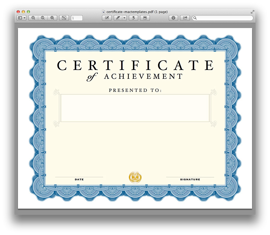 Certificate Template For Pages (7) - Templates Example in Best Pages Certificate Templates