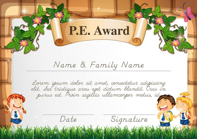 Certificate Template For Pe Award - Download Free Vectors throughout Pe Certificate Templates