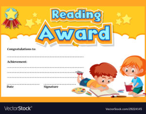 Certificate Template For Reading Award With Kids Vector Image regarding Reading Achievement Certificate Templates