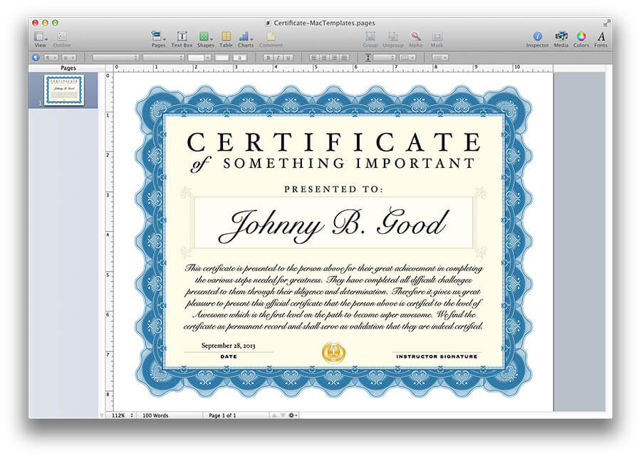 Certificate Template in Unique Certificate Template For Pages
