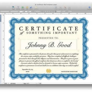 Certificate Template pertaining to Pages Certificate Templates