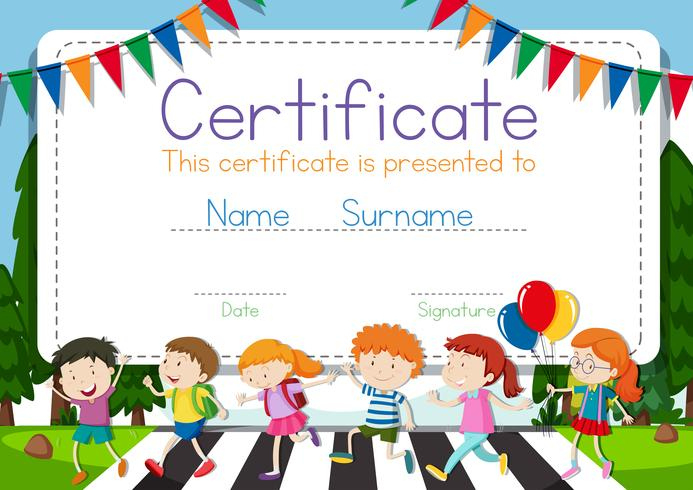 Certificate Template With Children Crossing Road Background pertaining to Best Children'S Certificate Template