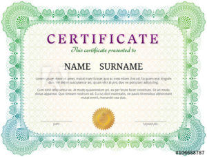 Certificate Template With Guilloche Elements. Green Diploma intended for New Validation Certificate Template