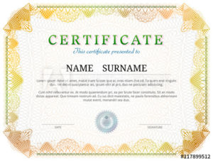 Certificate Template With Guilloche Elements. Yellow Diploma inside New Validation Certificate Template