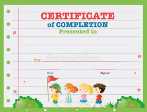 Certificate Template With Kids Walking In The Park Stock in Unique Walking Certificate Templates