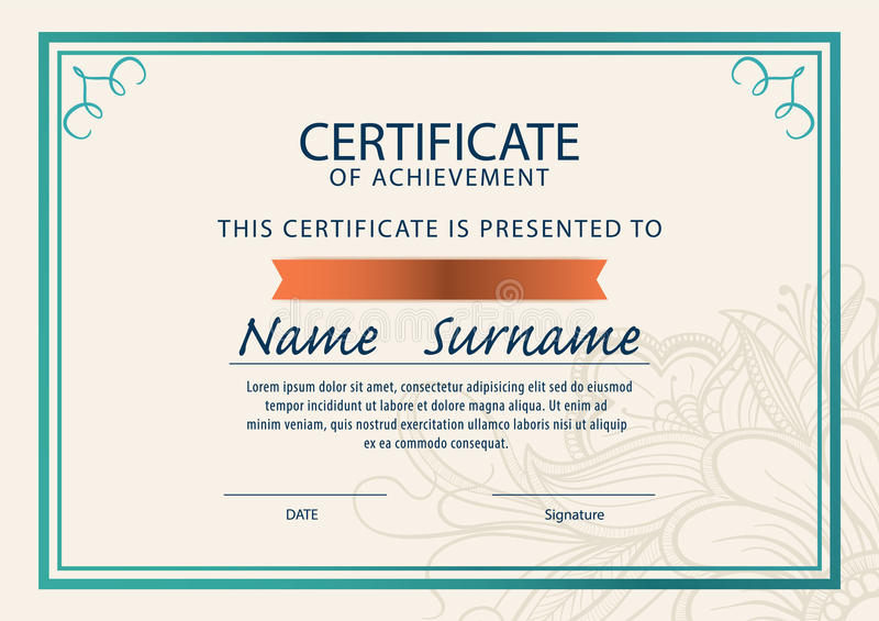 Certificate Template,Diploma,A4 Size , Stock Illustration in New Certificate Template Size