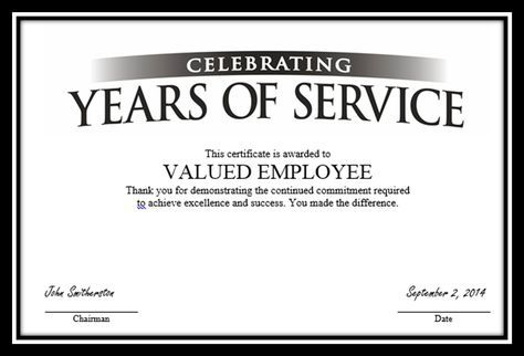 """Certificate To """"Valued Employee?"""" 