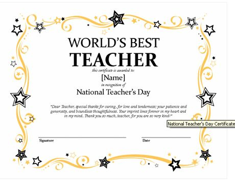 Certificates For Teachers: The World'S Best Teacher Award Within Best Teacher Certificate