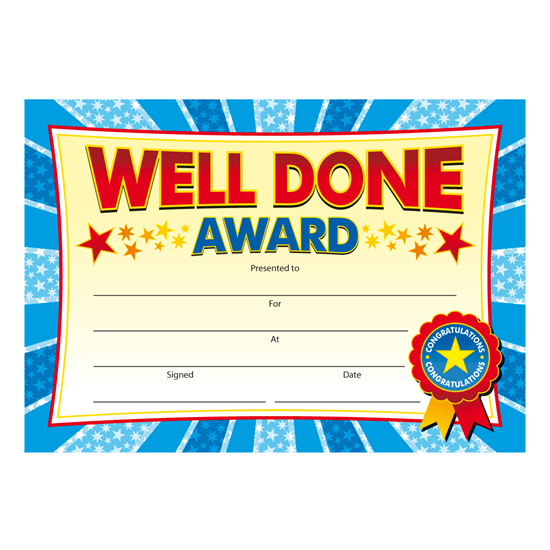Certificates For Well Done Awards From Brainwaves. Supplying for Well Done Certificate Template