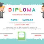 Certificates Kindergarten And Elementary, Preschool Kids For Best Kindergarten Diploma Certificate Templates 10 Designs Free