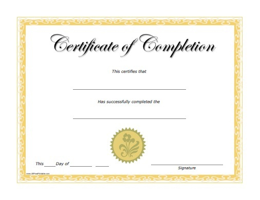 Certificates Of Completion - Free Printable intended for Fresh Free Training Completion Certificate Templates