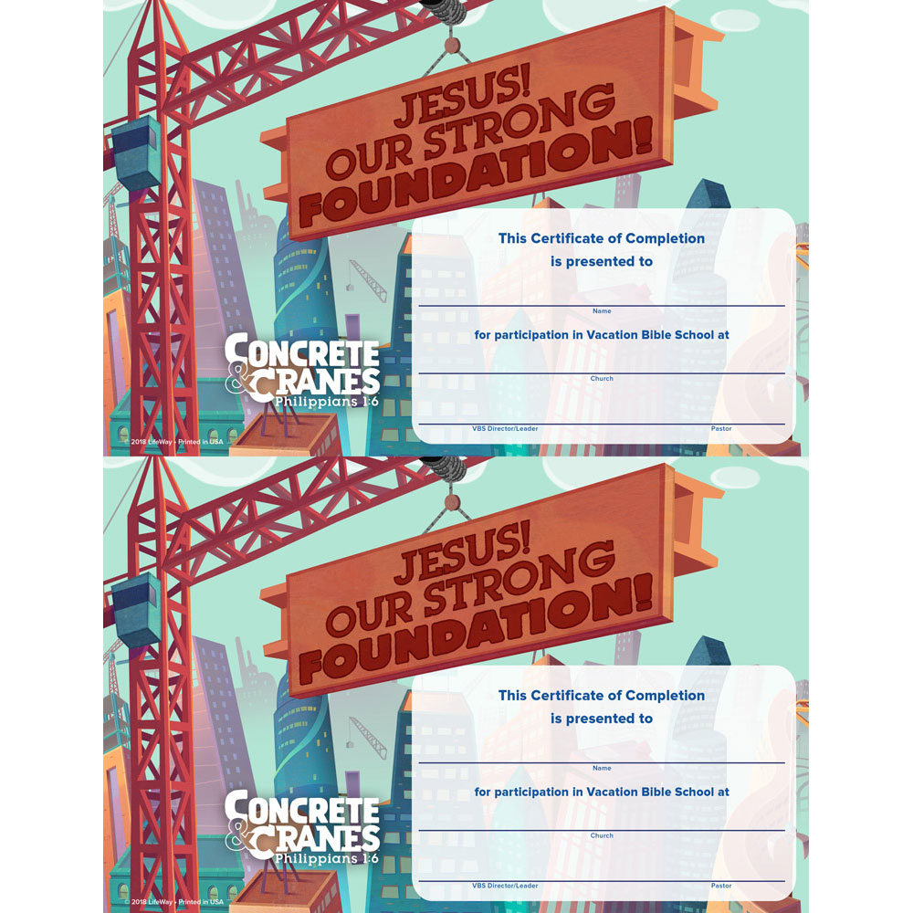 Certificates Of Completion (Pack Of 50) - Concrete & Cranes Vbs 2020 Lifeway regarding Best Lifeway Vbs Certificate Template