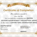 Certificates Of Completion Templates For Ms Word throughout Unique Certificate Of Completion Template Word
