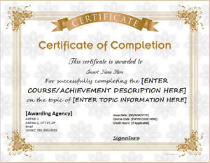 Certificates Of Completion Templates For Ms Word with Certificate Of Completion Word Template