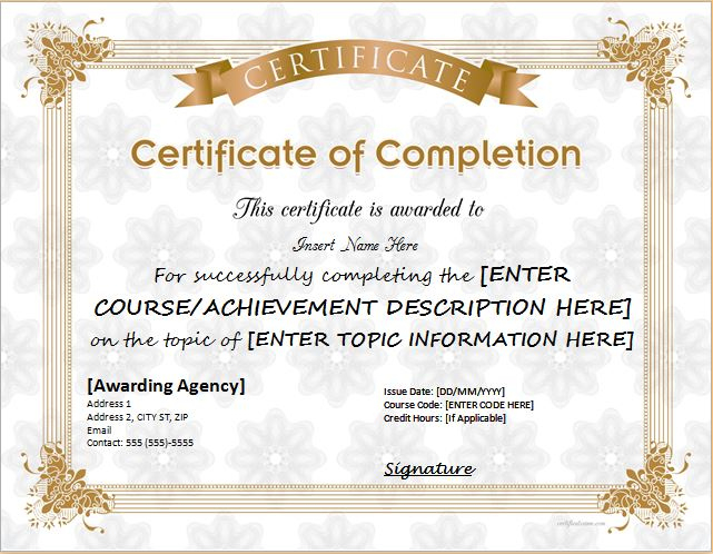 Certificates Of Completion Templates For Ms Word within Certificate Of Achievement Template Word