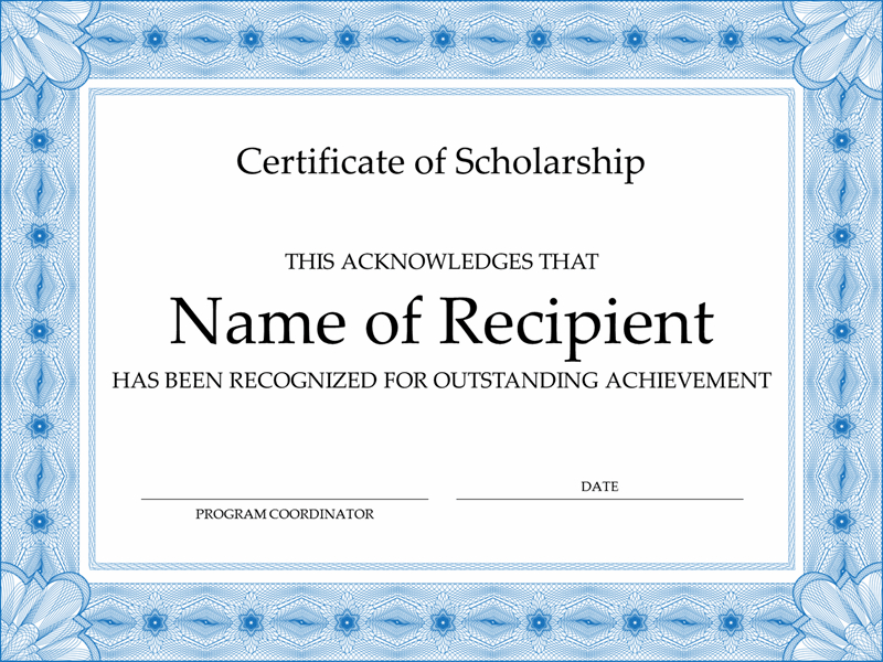 Certificates - Office inside Quality Scholarship Certificate Template Word