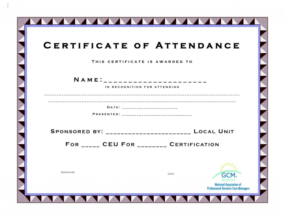 Ceu Certificate Of Completion Template Attendance Templates inside Unique Ceu Certificate Template