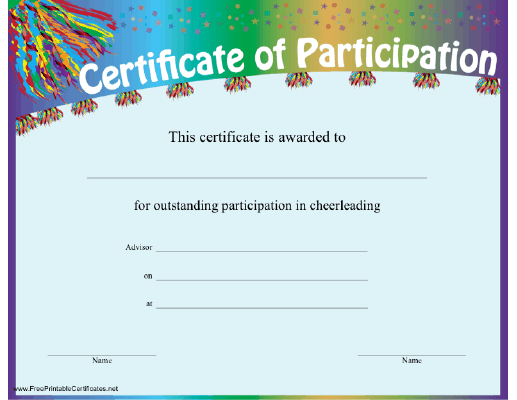 Cheerleading Participation Certificate Printable Certificate within Participation Certificate Templates Free Printable