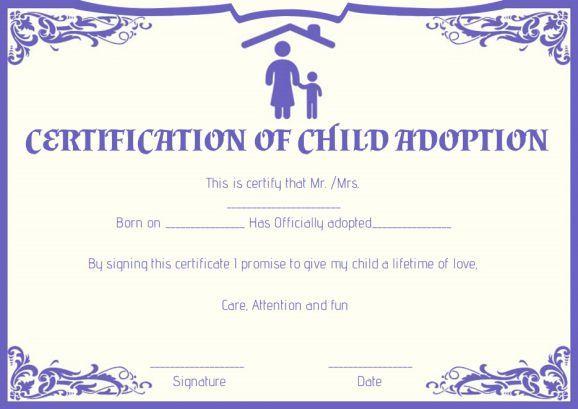 Child Adoption Certificate Template (8) - Templates Example with regard to Child Adoption Certificate Template Editable