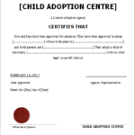 Child Adoption Certificate Template For Word   Document Hub Inside Unique Adoption Certificate Template